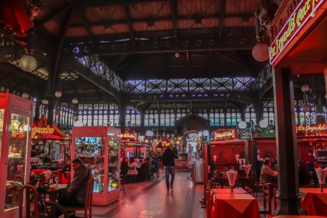 Restaurants and vendors inside Mercado Central in Santiago, Chile