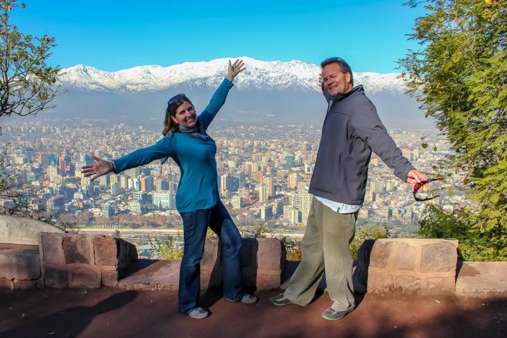 Sarah and Kris on Cerro San Cristobal in Santiago, Chile