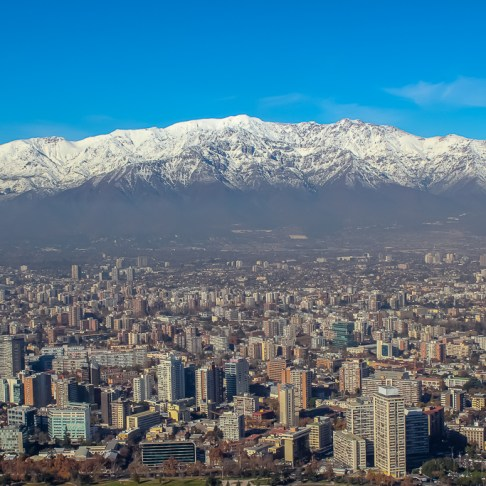 City and Mountain views from Cerro San Cristobal in Santiago, Chile