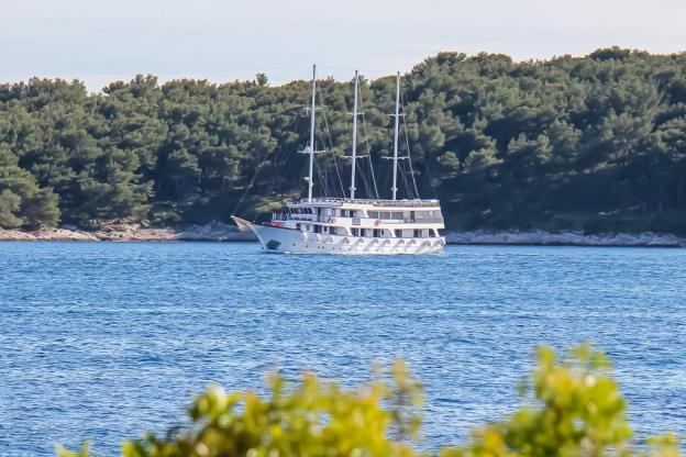 Almissa sailing into Hvar Town, Croatia