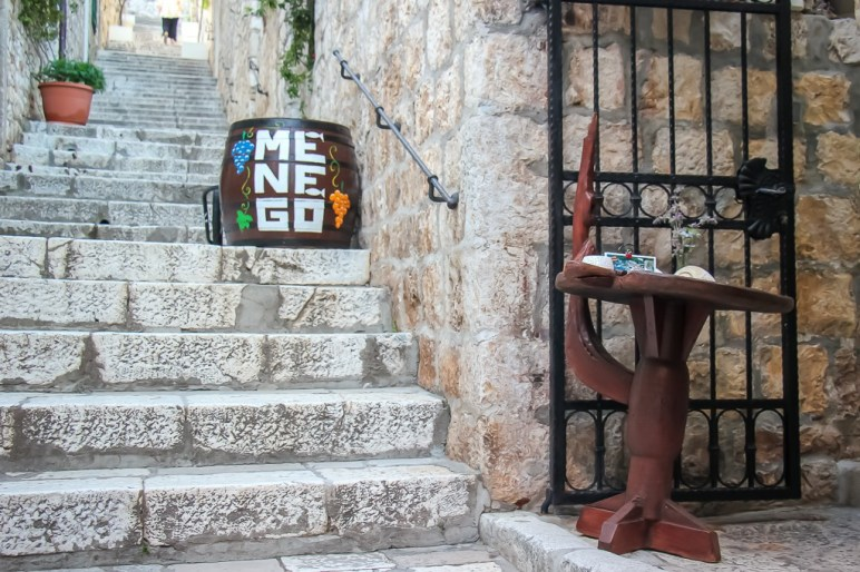 Entrance to Menego Restaurant in Hvar Town on Hvar Island, Croatia