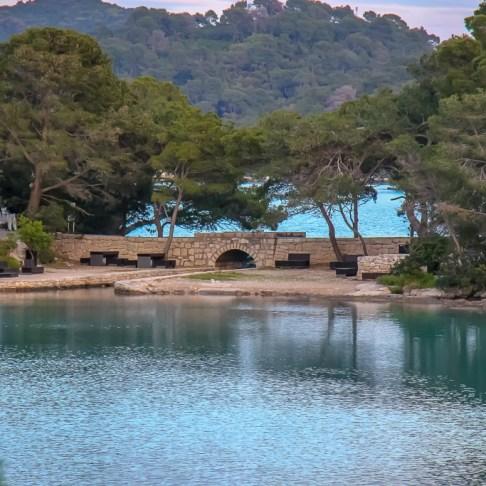 Stone bridge at Mljet NP between Small Lake and Grand Lake, Mljet Island, Croatia