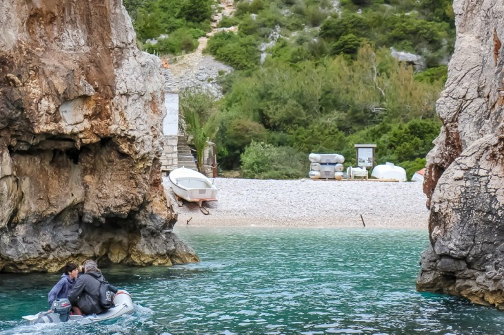 A view of Stiniva Beach through the rocks on Vis Island, Croatia
