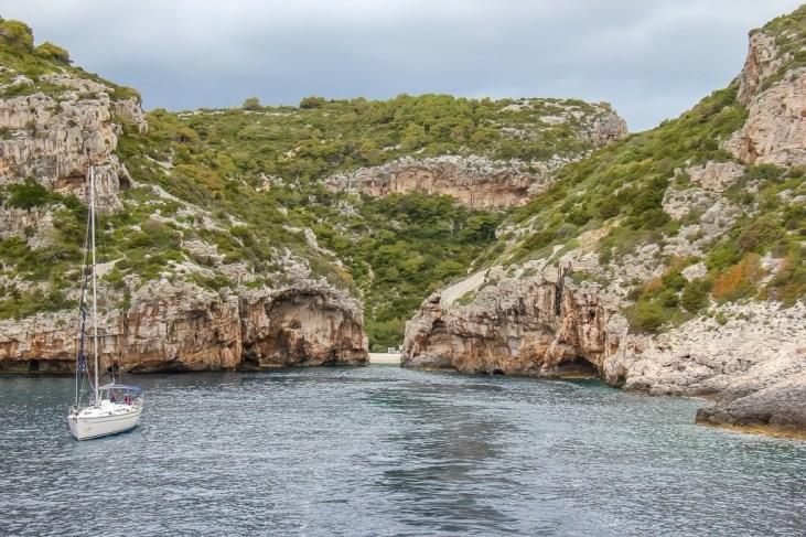 View of Stiniva Beach on Vis Island, Croatia from sea
