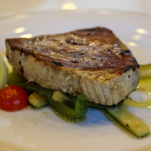 Tuna steak with vegetables for lunch aboard Sail Croatia Almissa ship