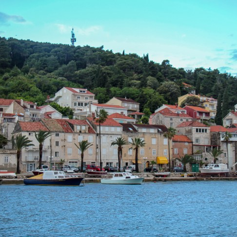 Korcula Bay outside Old Town on Korcula Island, Croatia