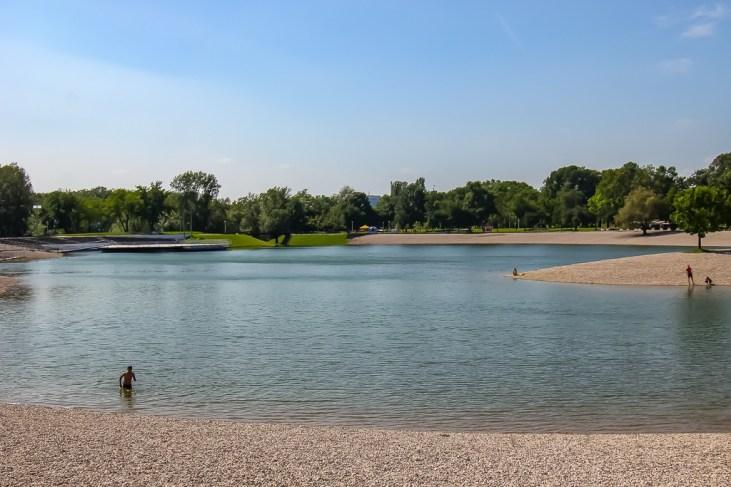 Man swims in Bundek Lake in Zagreb, Croatia
