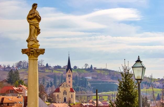 Statue and steeple in Krapina, Croatia