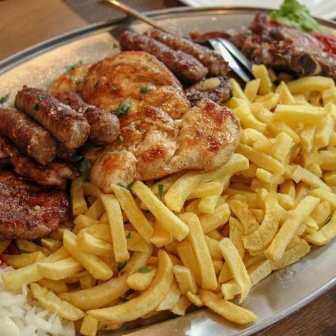 Meat platter at Pinjur restaurant in Sinj, Croatia