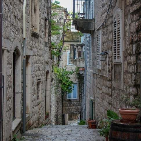 Cobblestone lane in Korcula Town in Croatia