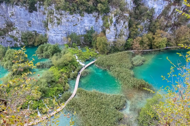 Looking down at Plitvice Lakes boardwalk in Croatia