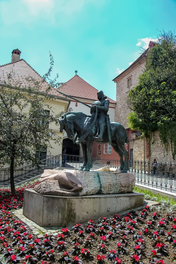 St. George after slaying the dragon statue in Zagreb, Croatia