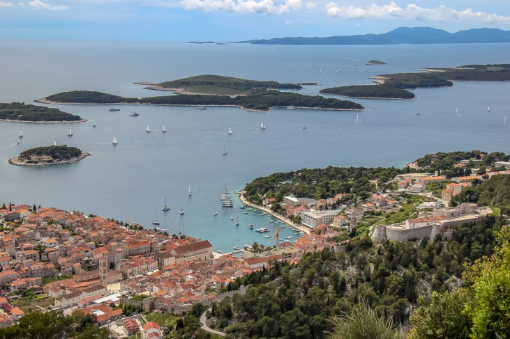 Hvar Town and Pakleni Islands view from Napoleon Fortress in Hvar, Croatia