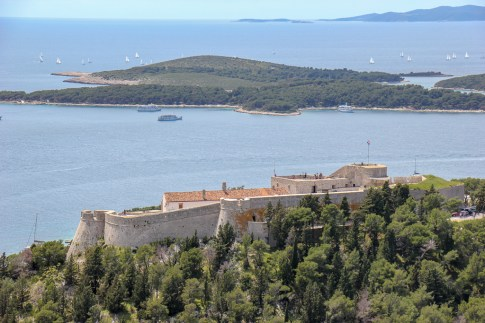 View of Spanjola Fortress from Napoleon Fortress in Hvar, Croatia
