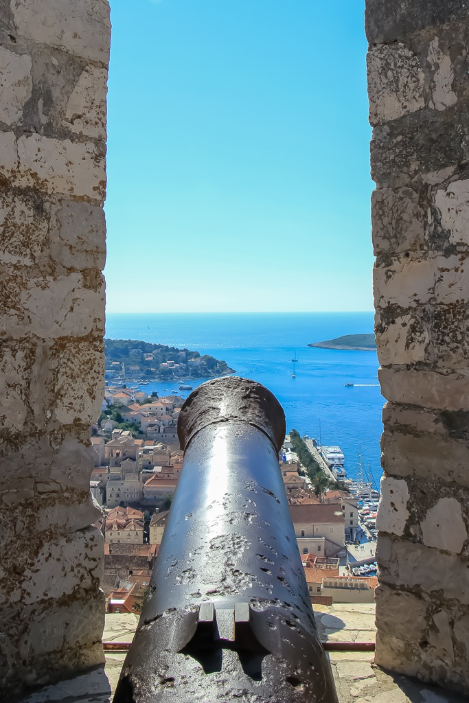 Cannon on wall of Spanish Fortress in Hvar, Croatia