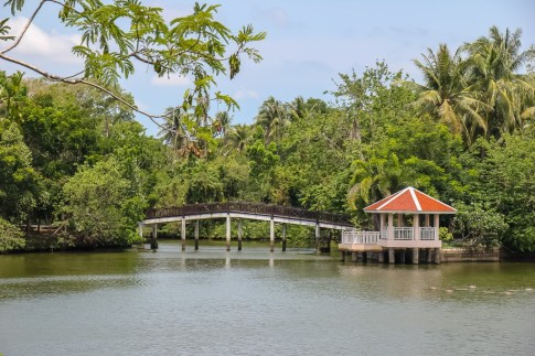 Bridge over lake at Bang Kachao Botanical Garden in Bangkok, Thailand