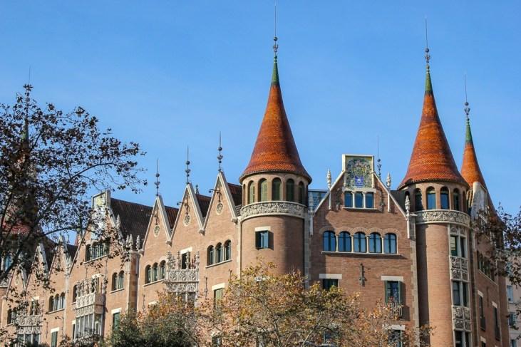 The Casa de les Punxes building in Barcelona, Spain