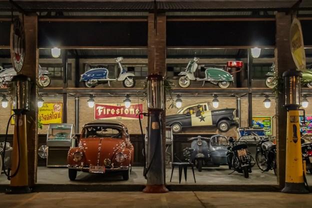 Classic cars on display at Train Night Market in Bangkok, Thailand