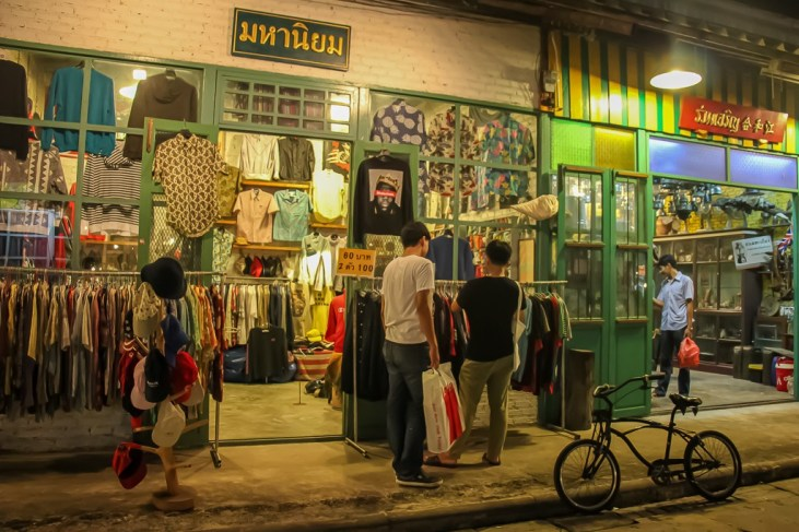 Vintage clothing store at Train Night Market in Bangkok, Thailand
