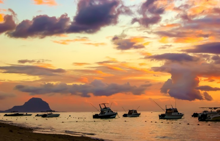 Boats on Indian Ocean at Sunset from Flic en Flac, Mauritius