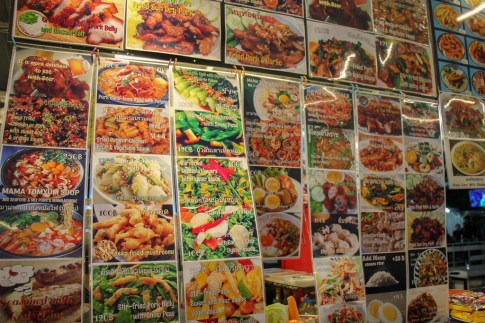 Menu posted at vendor stall at the Corner 79 Night Market in Bangkok On Nut, Thailand