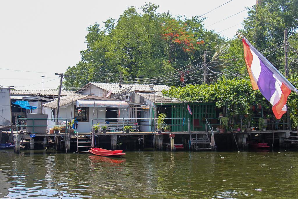 Houses along a canal in Bangkok, Thailand