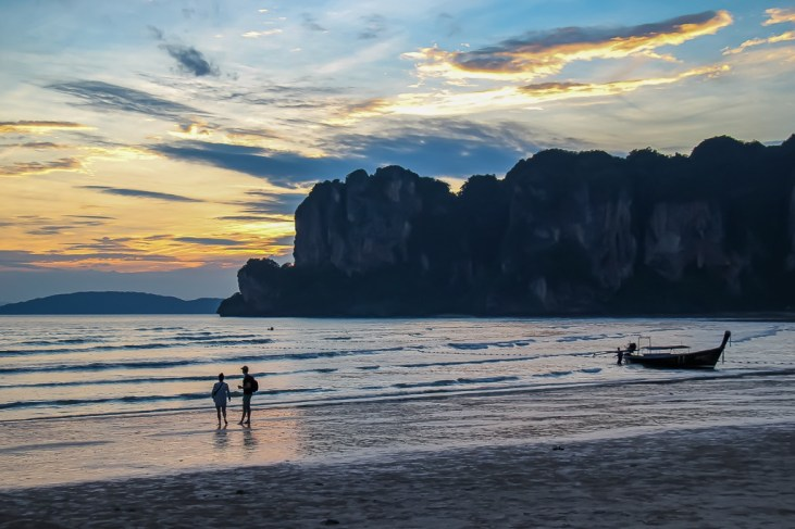 Sunset in Railay West Beach in Thailand