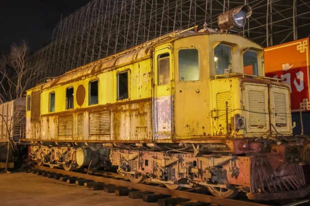 Old Train on display at the Train Night Market in Bangkok, Thailand