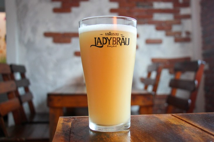 Glass of Ladybrau craft beer at Wheres My Beer Craft Beer Bar in On Nut in Bangkok, Thailand
