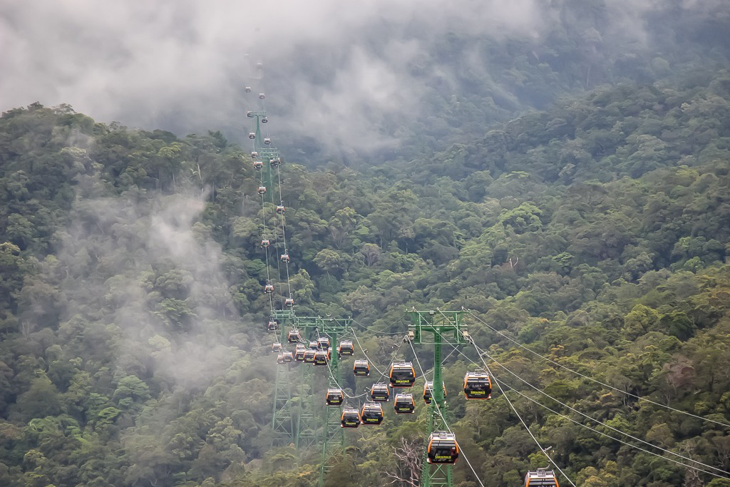 Cable Cars in misty mountain going to Ba Na Hills in Da Nang, Vietnam