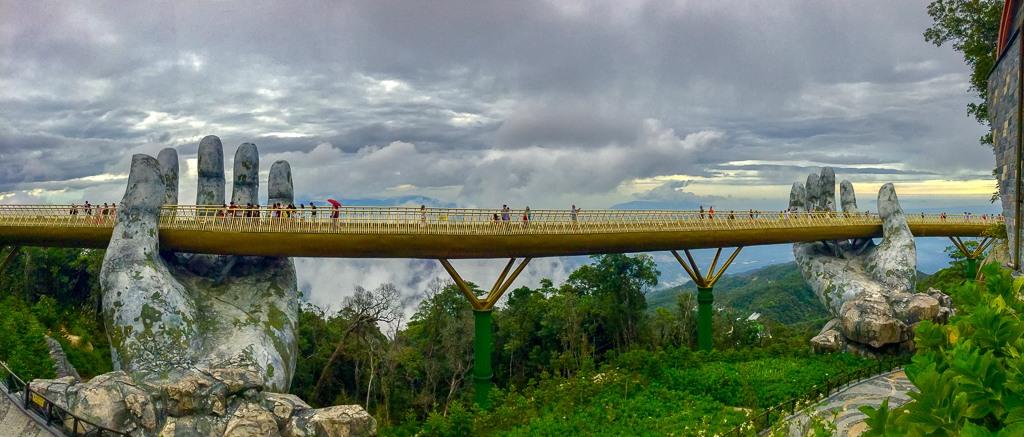 Panoramic view of Golden Bridge at Ba Na Hills in Da Nang, Vietnam