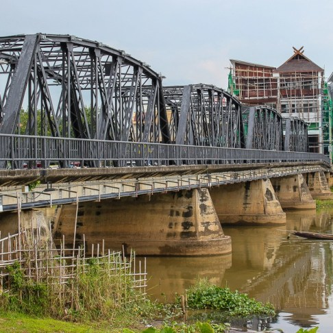 Loi Krah Road Bridge over Ping River in Chiang Mai, Thailand