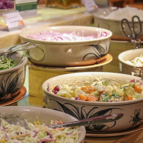 Fresh salads at Beer Plaza Buffet at Ba Na Hills in Da Nang, Vietnam