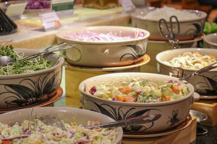 Fresh salads at Beer Plaza Buffet at Ba Na Hills in Da Nang, Vietnam