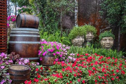 Whimsical wine barrel garden at Ba Na Hills in Da Nang, Vietnam