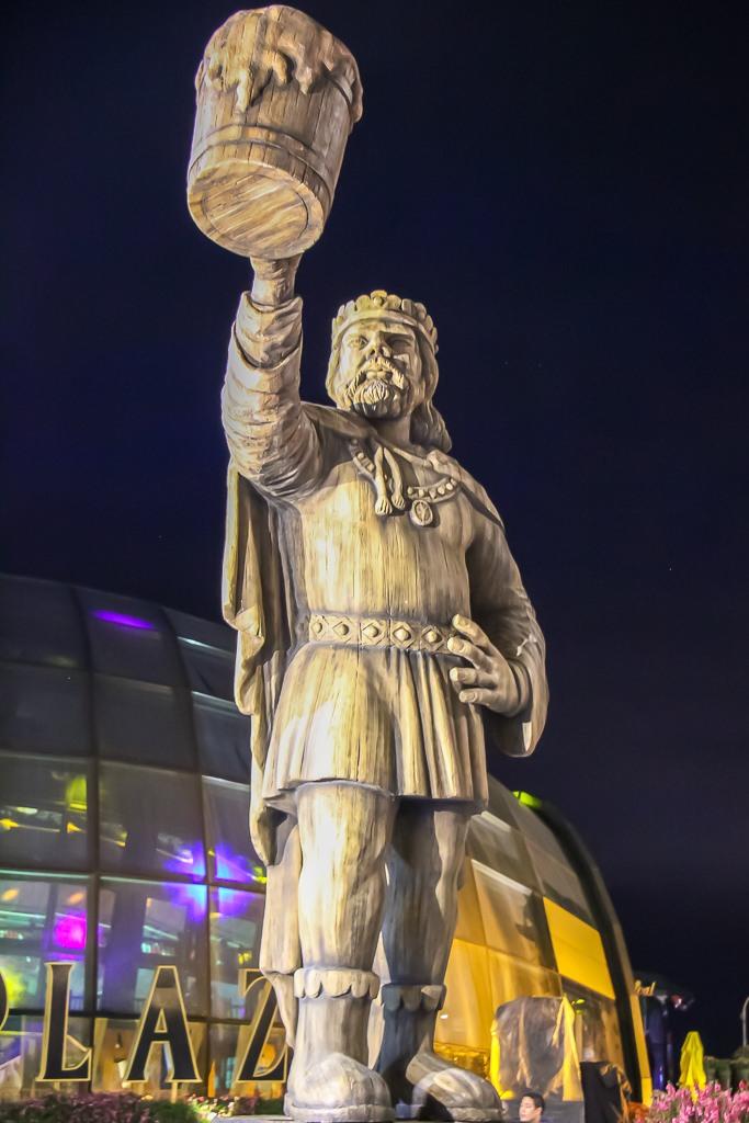 Statue of man raising a glass of beer at Ba Na Hills in Da Nang, Vietnam