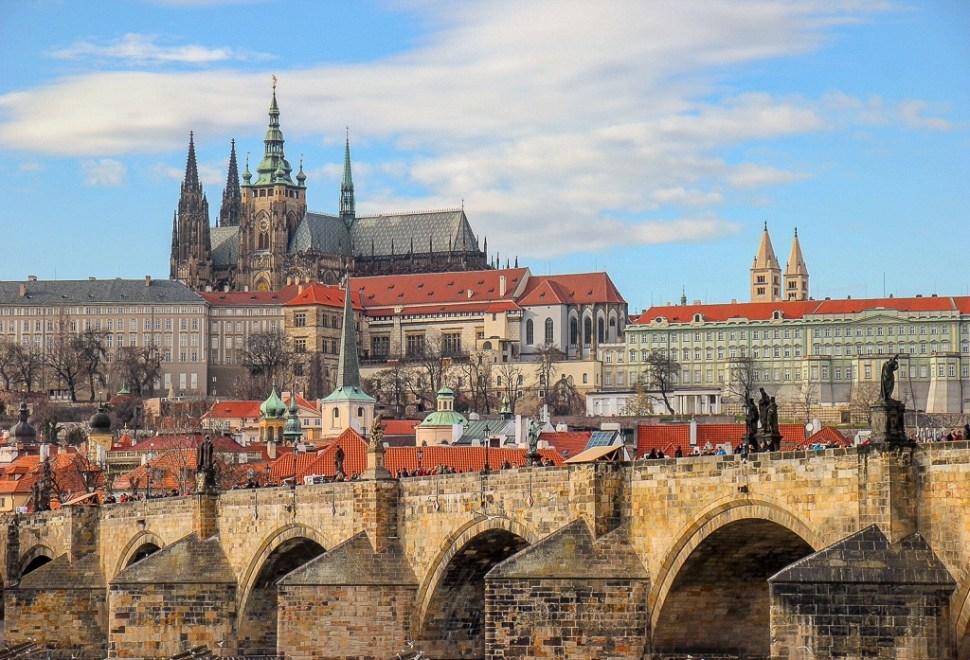 Charles Bridge spanning the river in Prague, Czech Republic