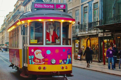 Santa driving tram at Christmas in Lisbon, Portugal