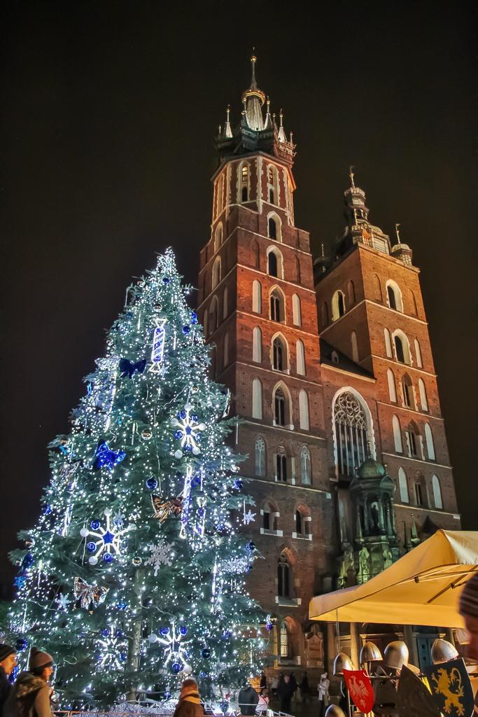 Main Square Christmas Tree in Krakow, Poland