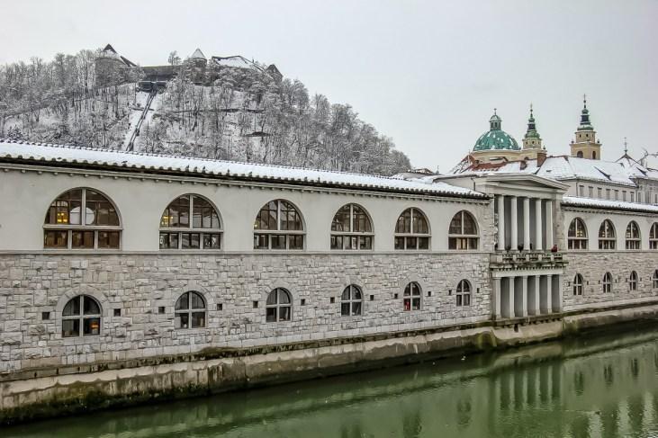 Ljubljana castle in snow
