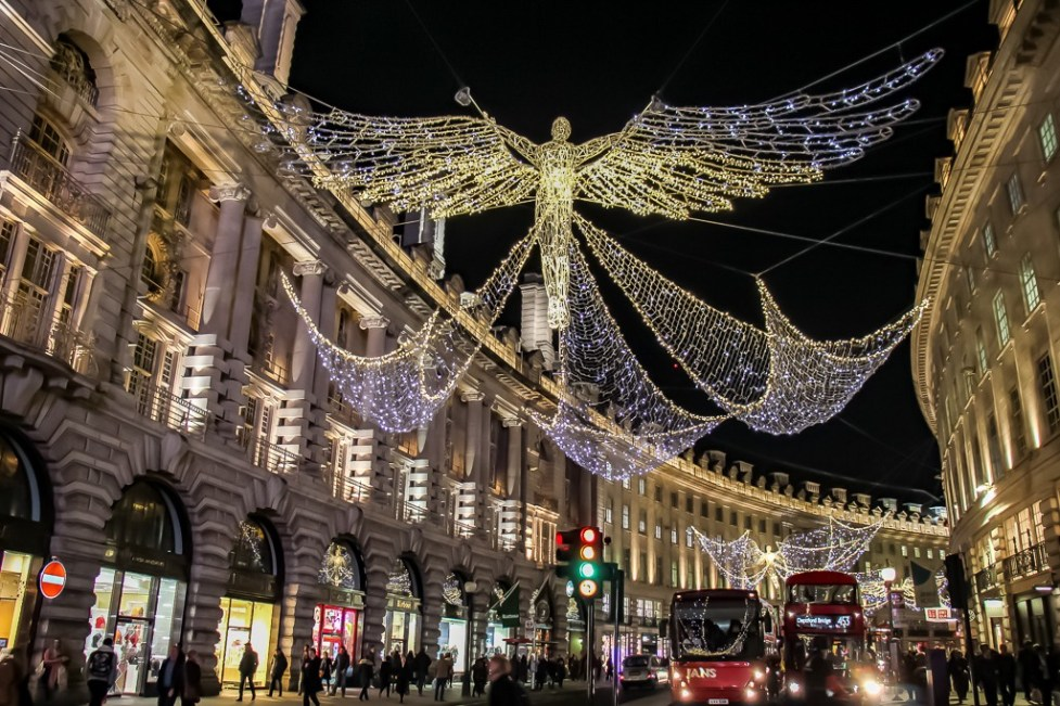 Illuminated Angels over Regent Street in London