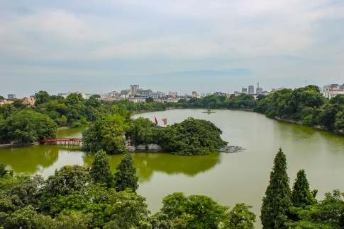 View of Hoan Kiem Lake from cafe in Hanoi, Vietnam