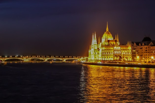 Parliament Building at night, Budapest, Hungary