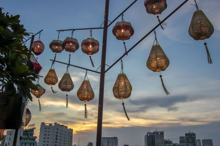 Sunset and lanterns, perfect happy hour at The View Rooftop Bar, Saigon, HCMC, Vietnam