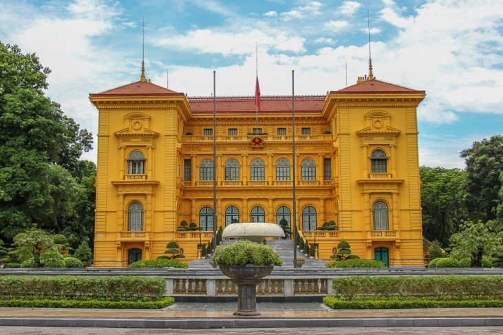The yellow Presidential Palace in Hanoi, Vietnam
