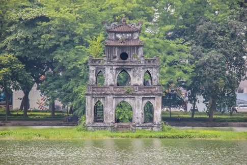 Stone Turtle Tower on Hoan Kiem Lake in Hanoi, Vietnam