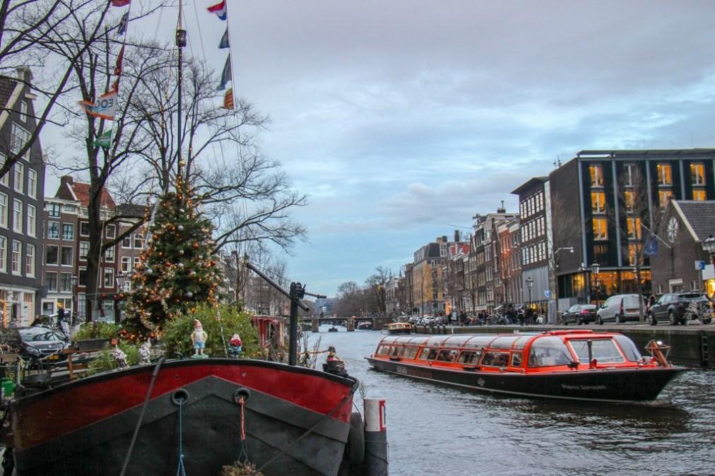 Canal Christmas, Christmas Tree Houseboat, Amsterdam, Netherlands