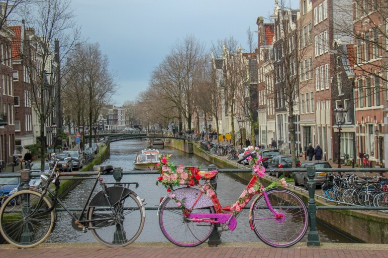 Bikes lining the canals of Amsterdam, Netherlands