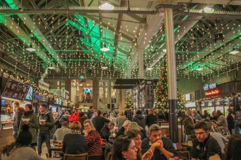 Looking festive at Foodhallen at Christmas, Amsterdam, Netherlands