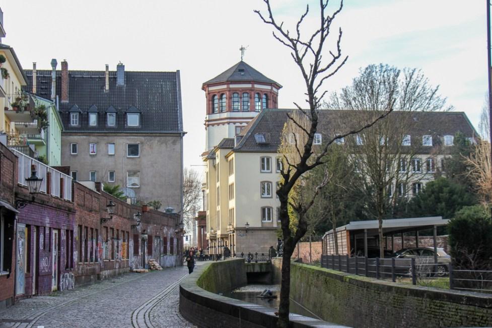 Walking along the streets of Dusseldorf, Germany